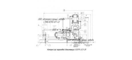 Компрессор поршневой дожимающий 3С2ГП-3/2-25